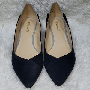 Nine west Navy blue and light blue suede wedge 7.5